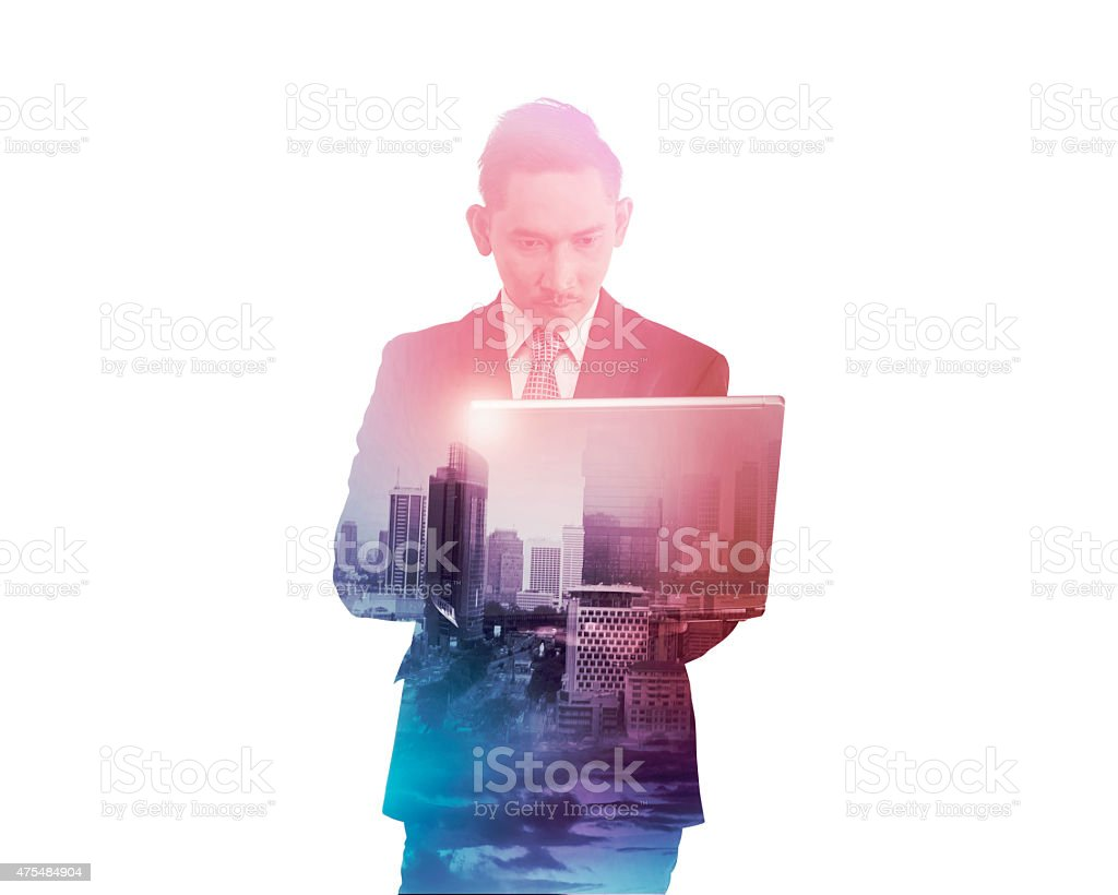 Business man with multiple exposure holding tablet computer stock photo