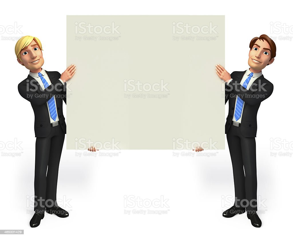 Business Man with sign stock photo