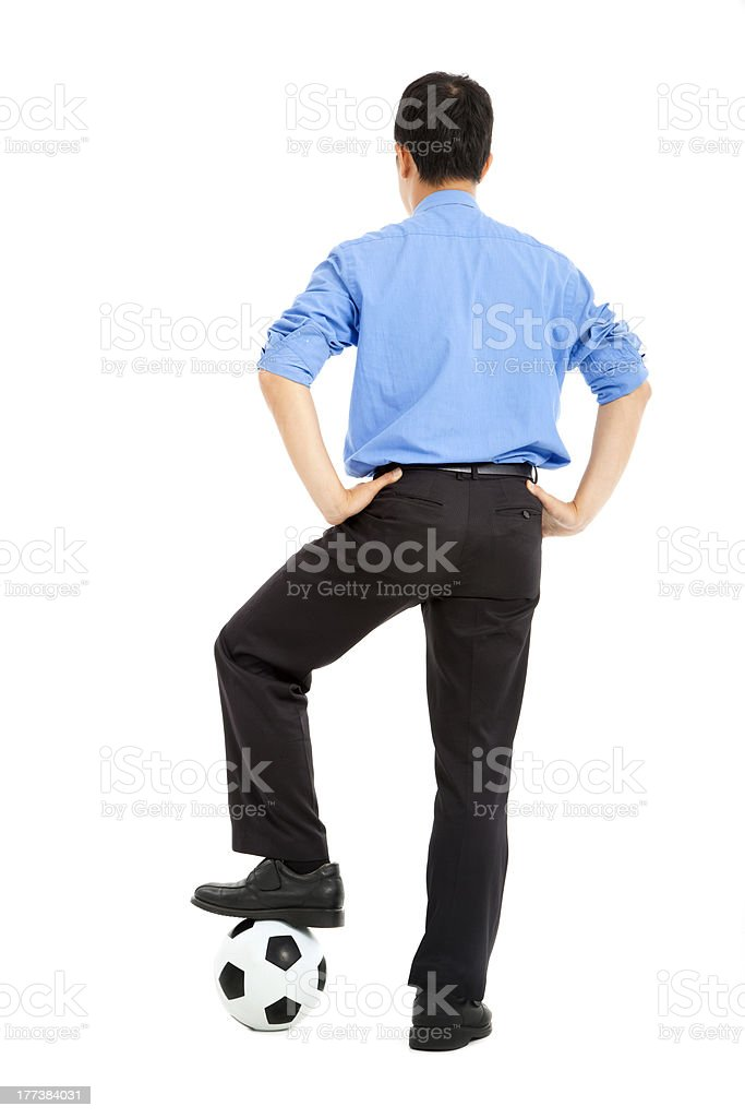 business man with soccer ball royalty-free stock photo