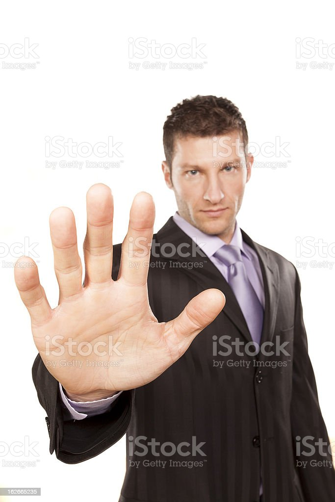 Business Man With Stop Hand Up royalty-free stock photo