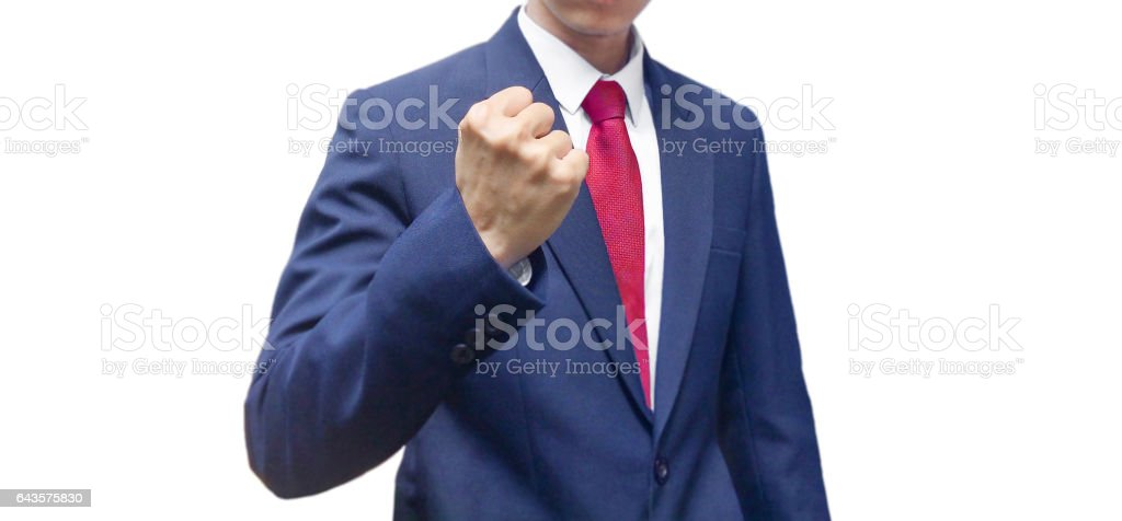 Business man with strength and goals stock photo