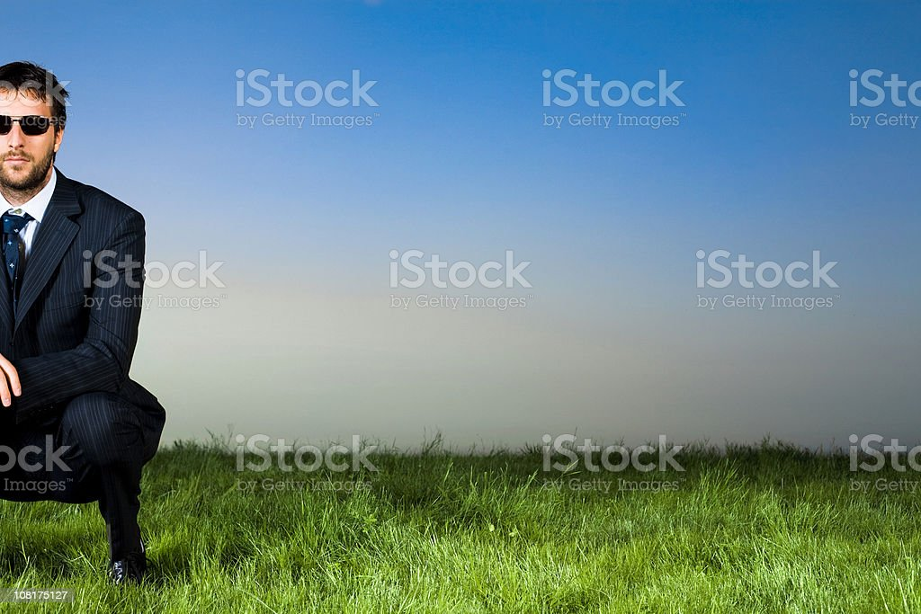 business man with sunglasses in grass field royalty-free stock photo