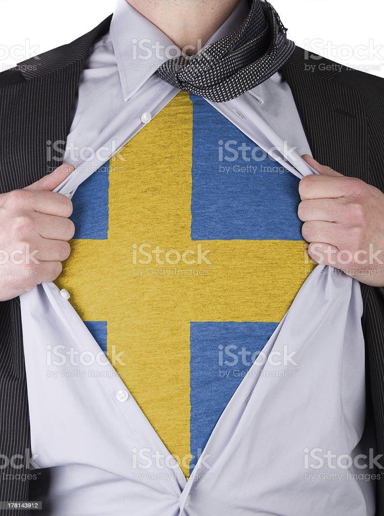 Business man with Swedish flag t-shirt stock photo