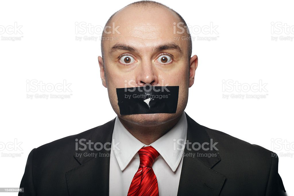 Business Man with Tape over Mouth royalty-free stock photo