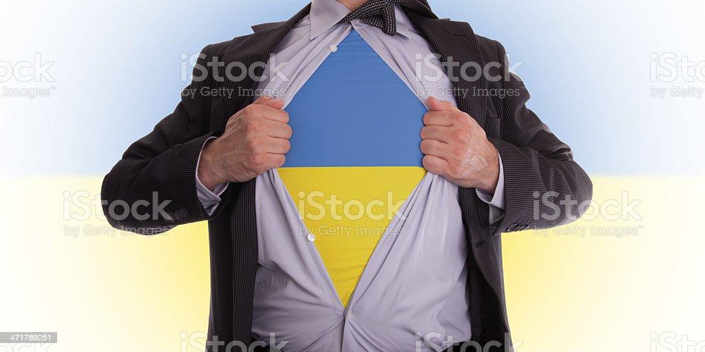 Business man with Ukrainian flag t-shirt royalty-free stock photo