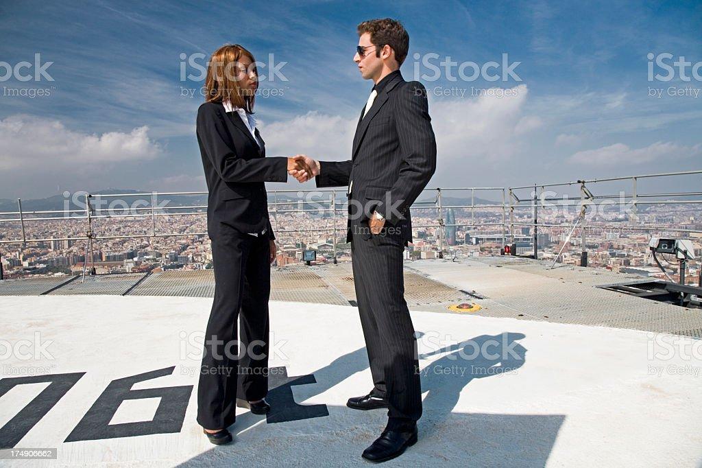 business man woman handshake royalty-free stock photo