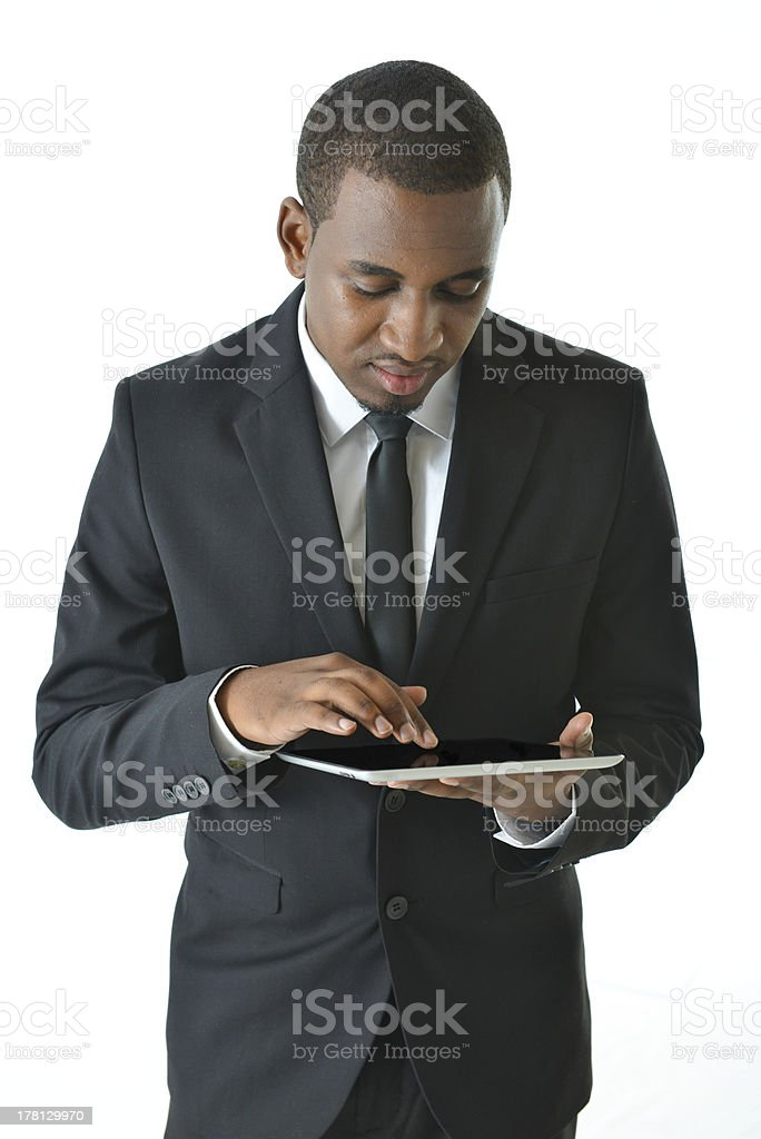 Business Man Workin on Tablet royalty-free stock photo