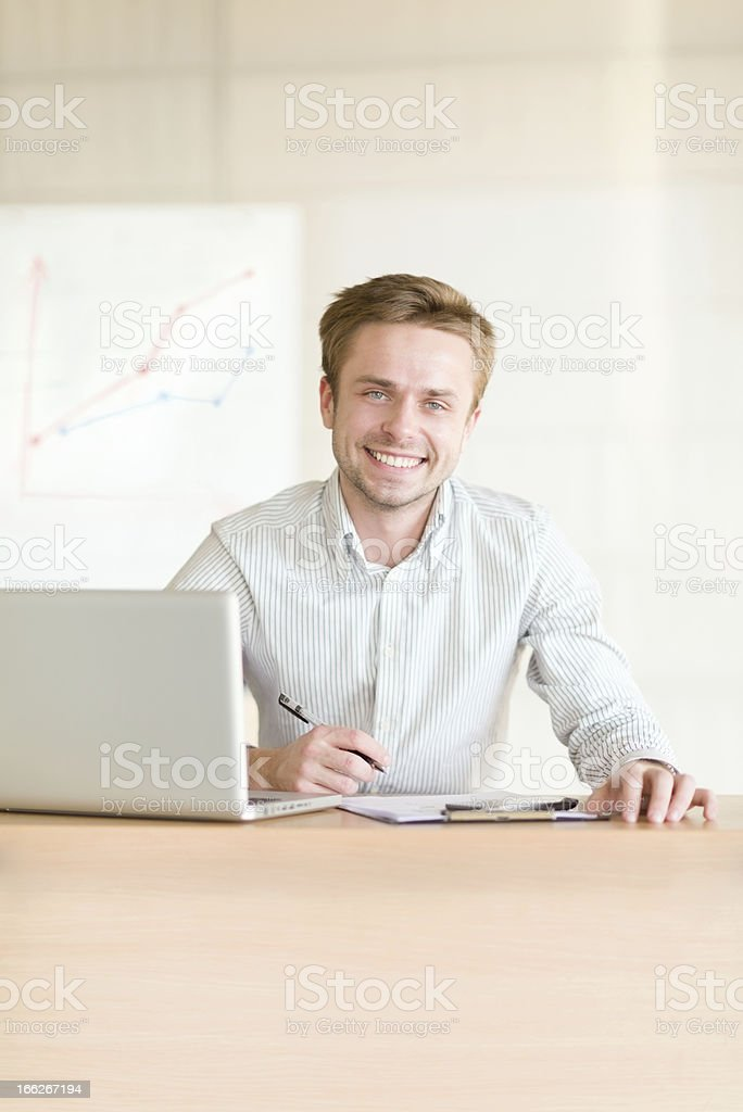 Business man working at office stock photo