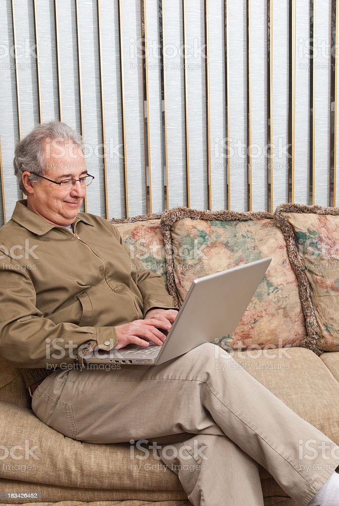 Business man working from home with laptop royalty-free stock photo