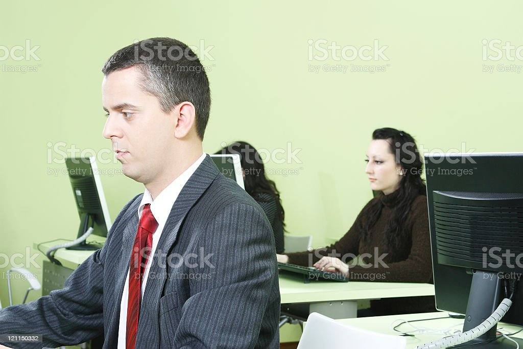 Business Man working in Computer Room royalty-free stock photo