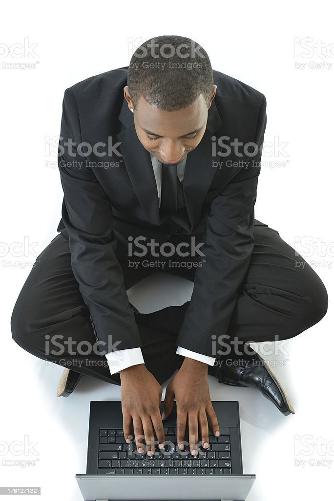 Business Man Working Laptop Sitting on Floor royalty-free stock photo