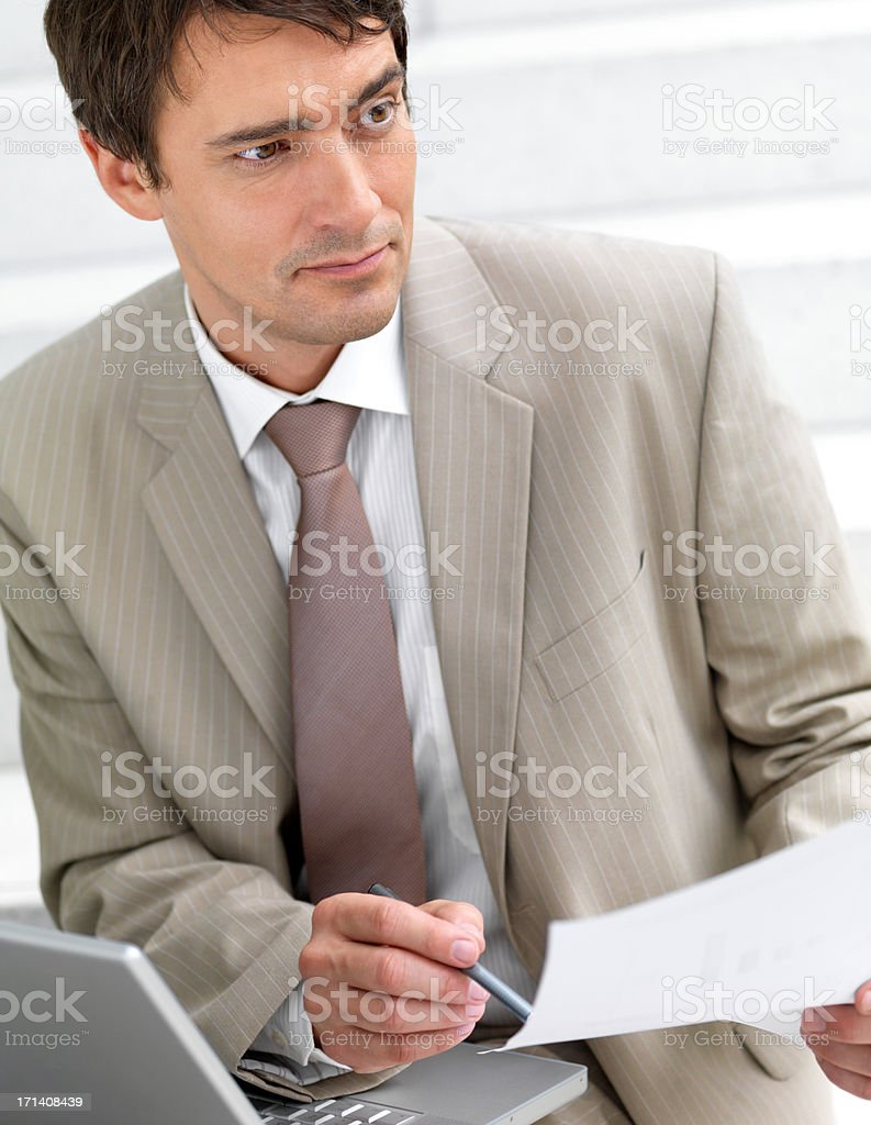 Business man working on a contract royalty-free stock photo