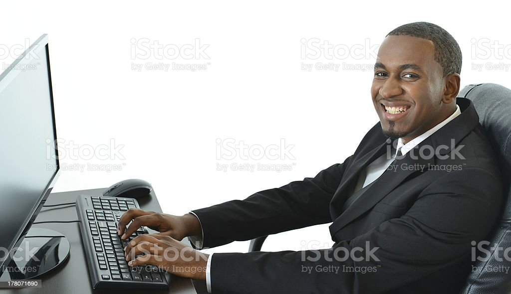 Business Man Working on Computer royalty-free stock photo