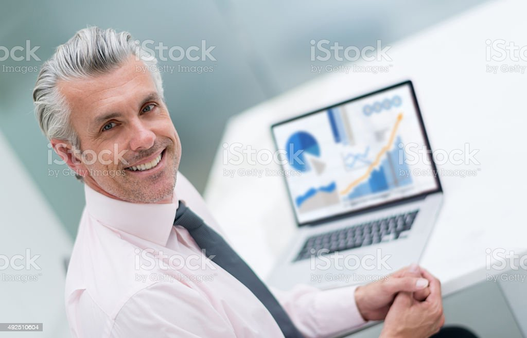 Business man working online stock photo