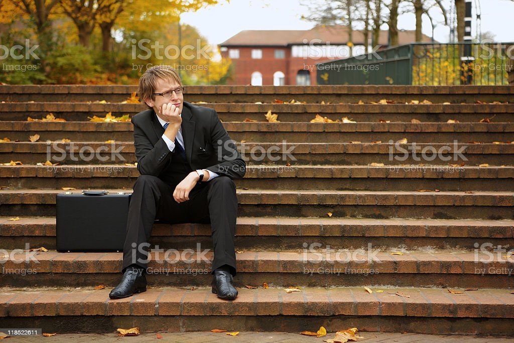 Business man working outdoors royalty-free stock photo