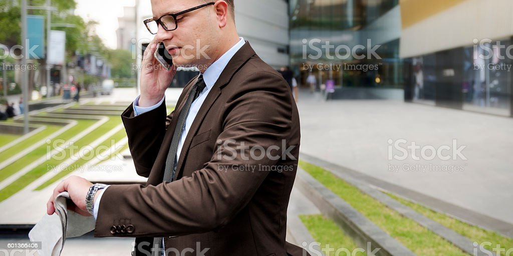 Business Man Working Talking Phone Concept stock photo