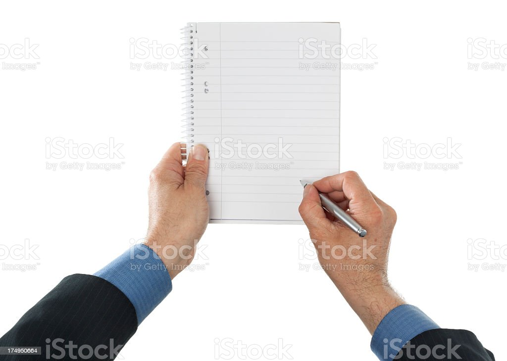 Business man writing in ring notepad royalty-free stock photo