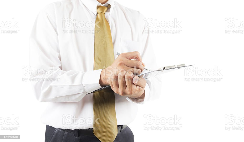 business man writing on clipbroad isolated with clipping path stock photo