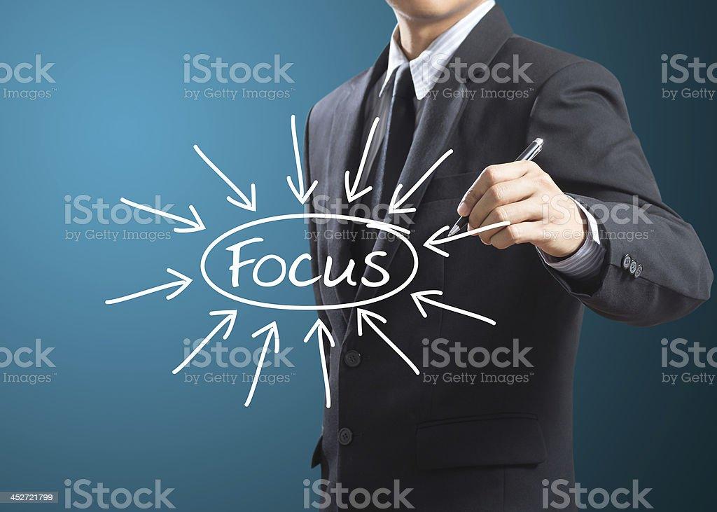business man writing target on focus royalty-free stock photo