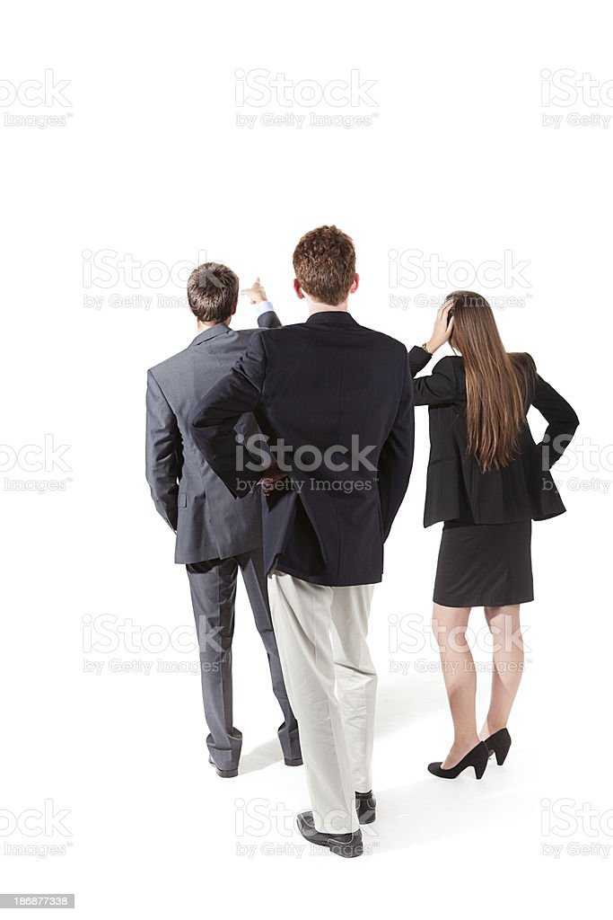 Business Management Team Looking and Pointing on White Background royalty-free stock photo