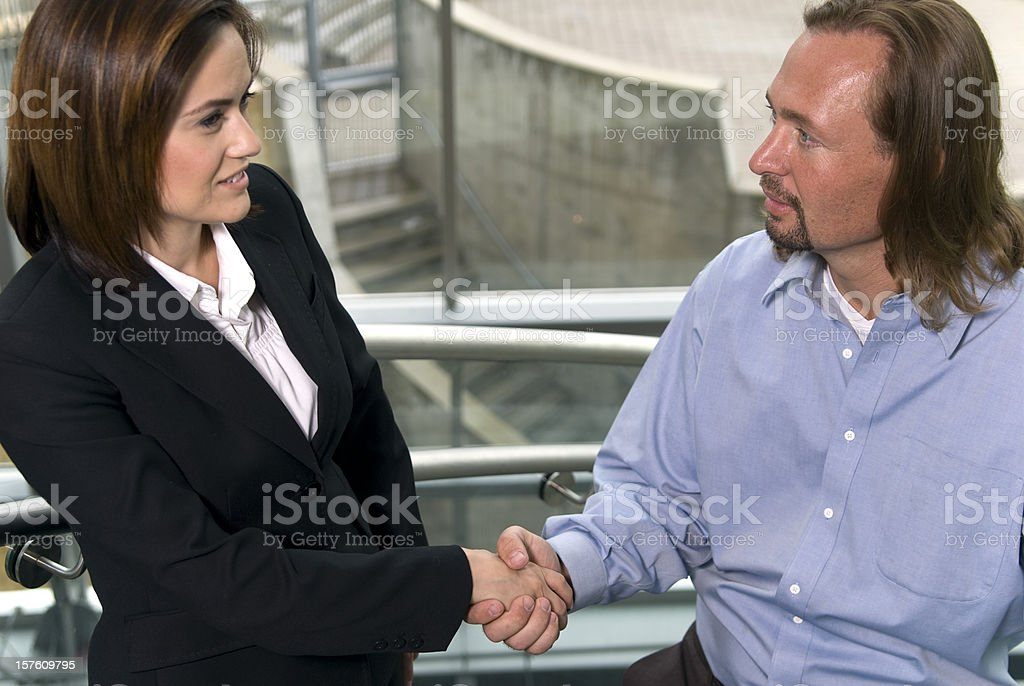 Business Manager: Interview Meeting & Businesswoman Handshake Agreement royalty-free stock photo