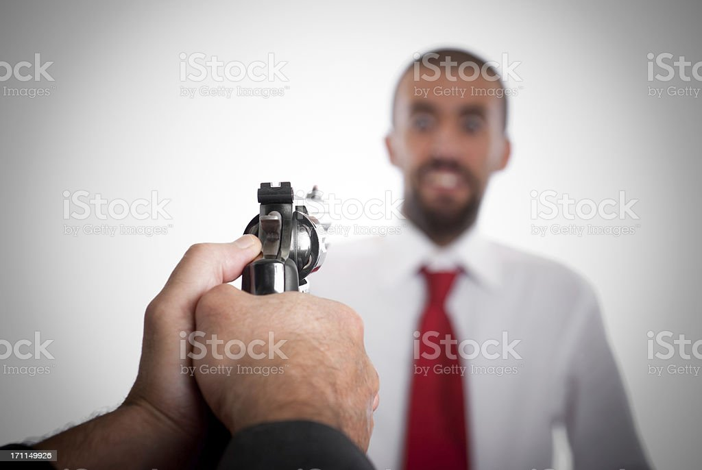 Business manager killed for Sucess - Handgun stock photo