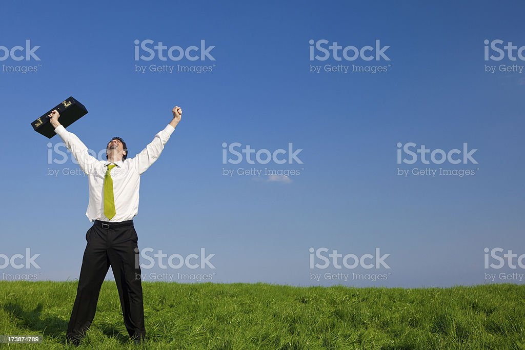 business manager outdoor freedom success with briefcase stock photo