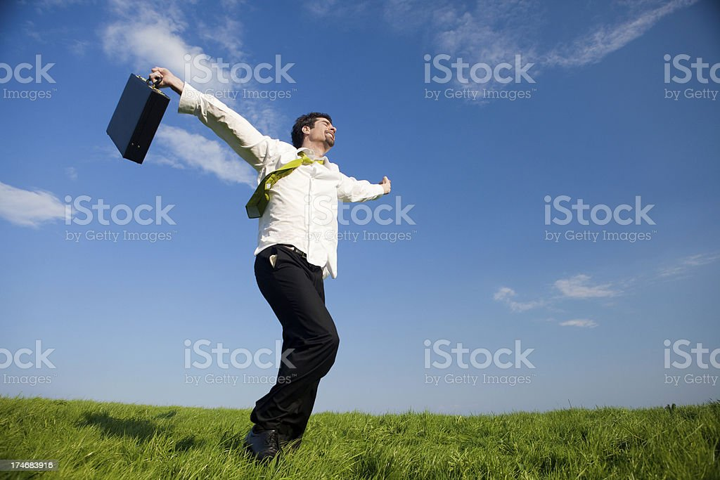 business manager outdoor freedom success with briefcase royalty-free stock photo