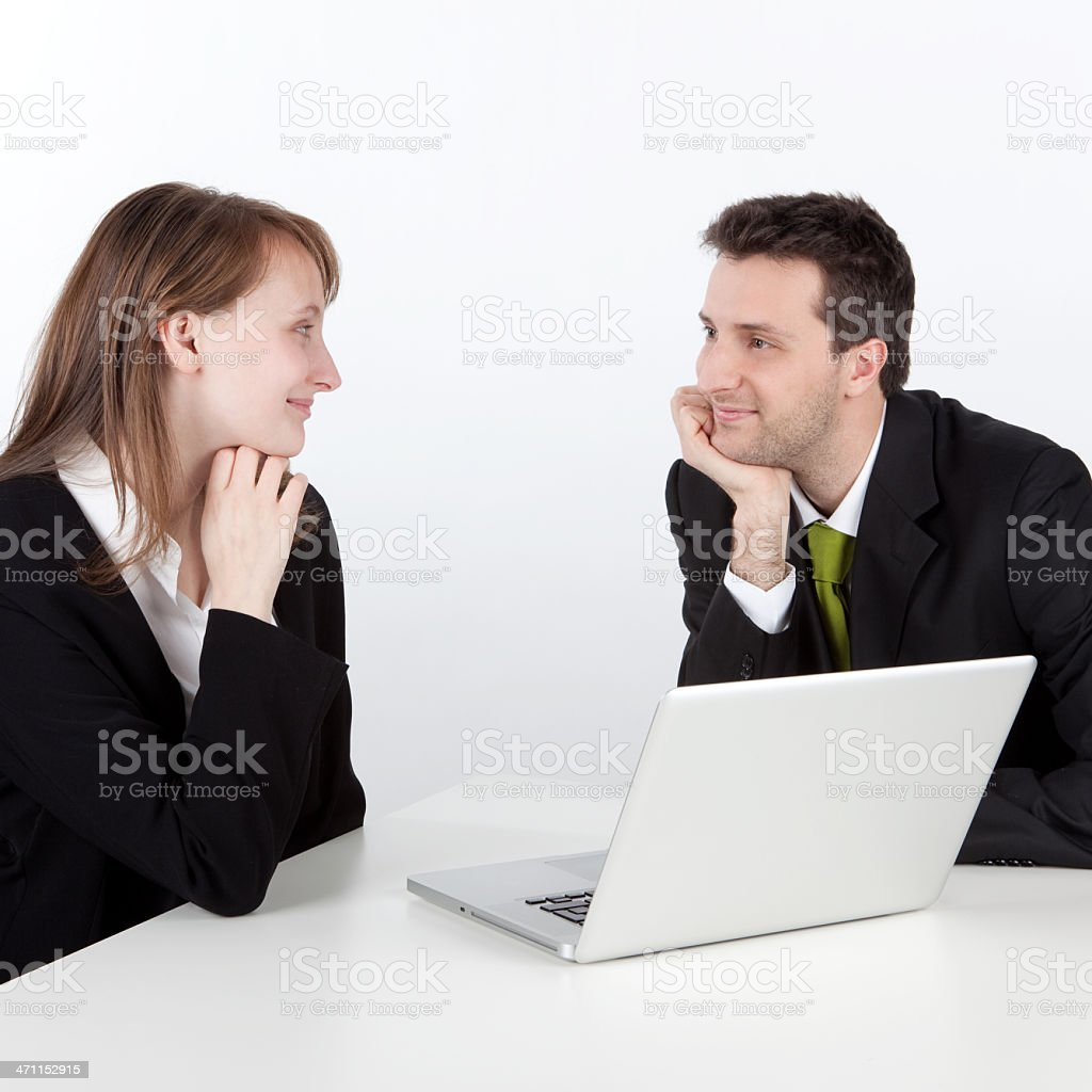 business manager partner work and smile at office with laptop stock photo