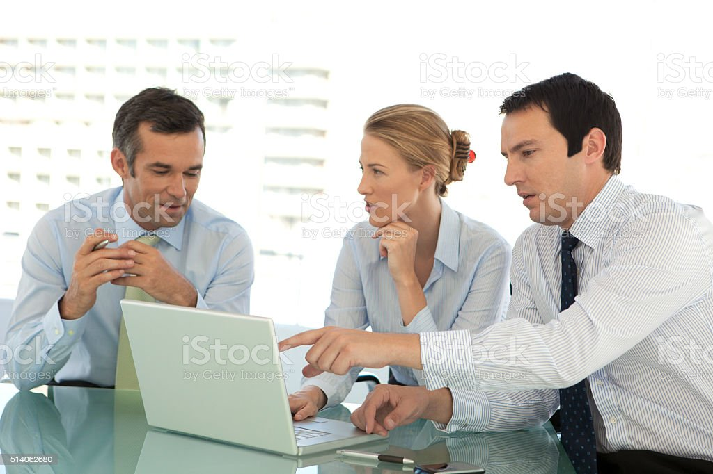 Business managers team working together at a meeting stock photo
