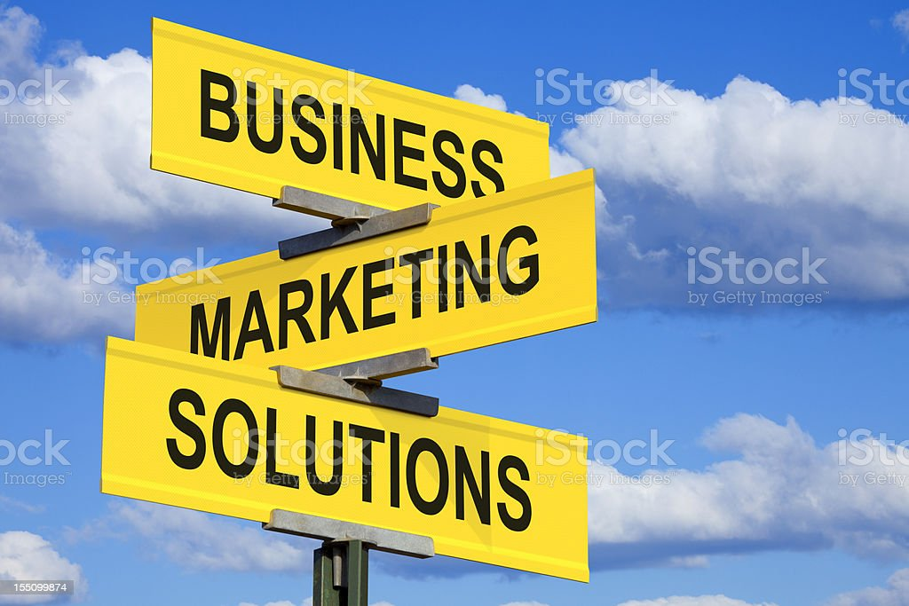 Business Marketing Solutions Intersection Sign royalty-free stock photo
