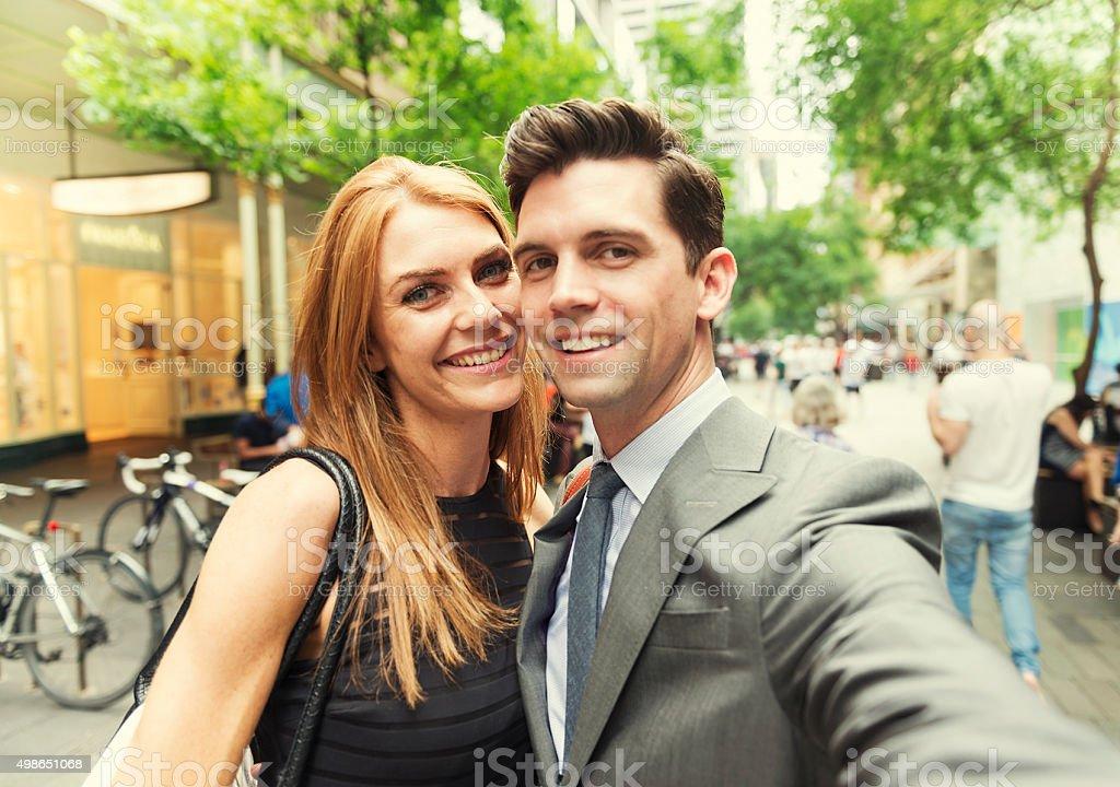 Business mates taking selfie at Pitt Street Sydney stock photo