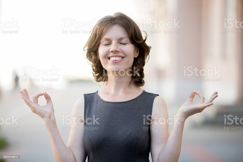 Business meditation stock photo