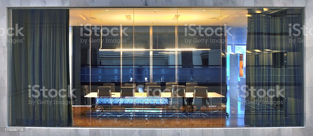 Business meeing room Behind Glass stock photo