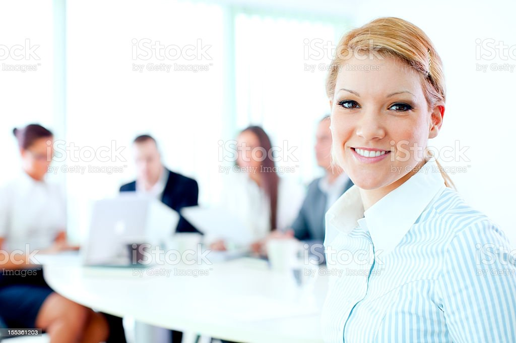 Business meeting and happy businesswoman. royalty-free stock photo