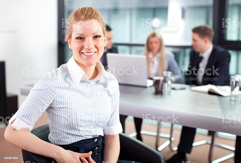 Business meeting and happy businesswoman royalty-free stock photo