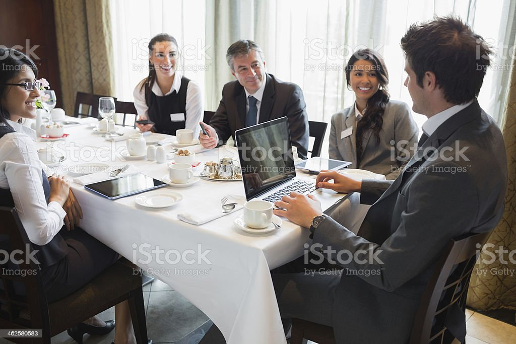 Business meeting at dinner royalty-free stock photo