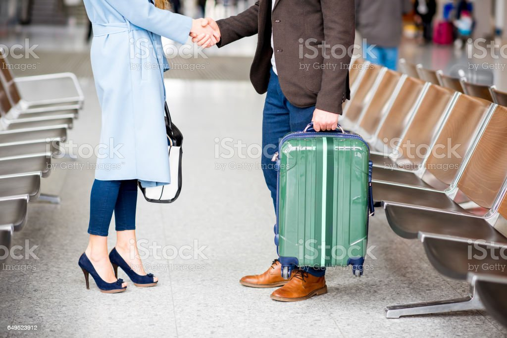 Business meeting at the airport stock photo