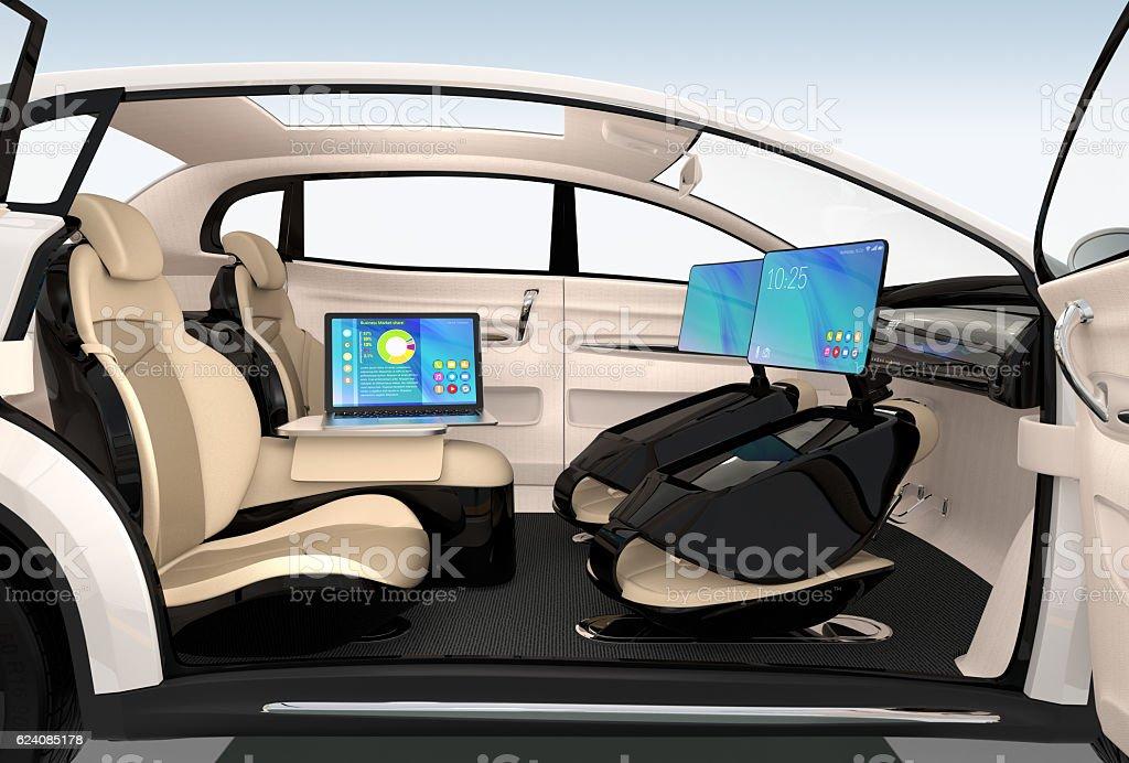 Business meeting concept in autonomous car stock photo
