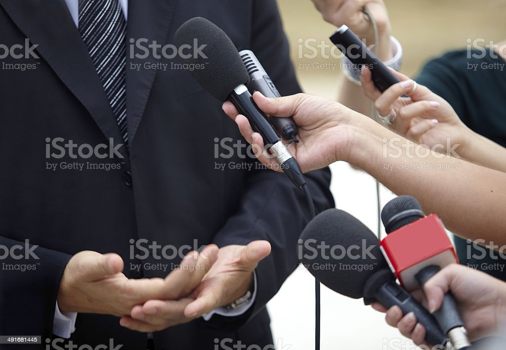 business meeting conference journalism microphones stock photo