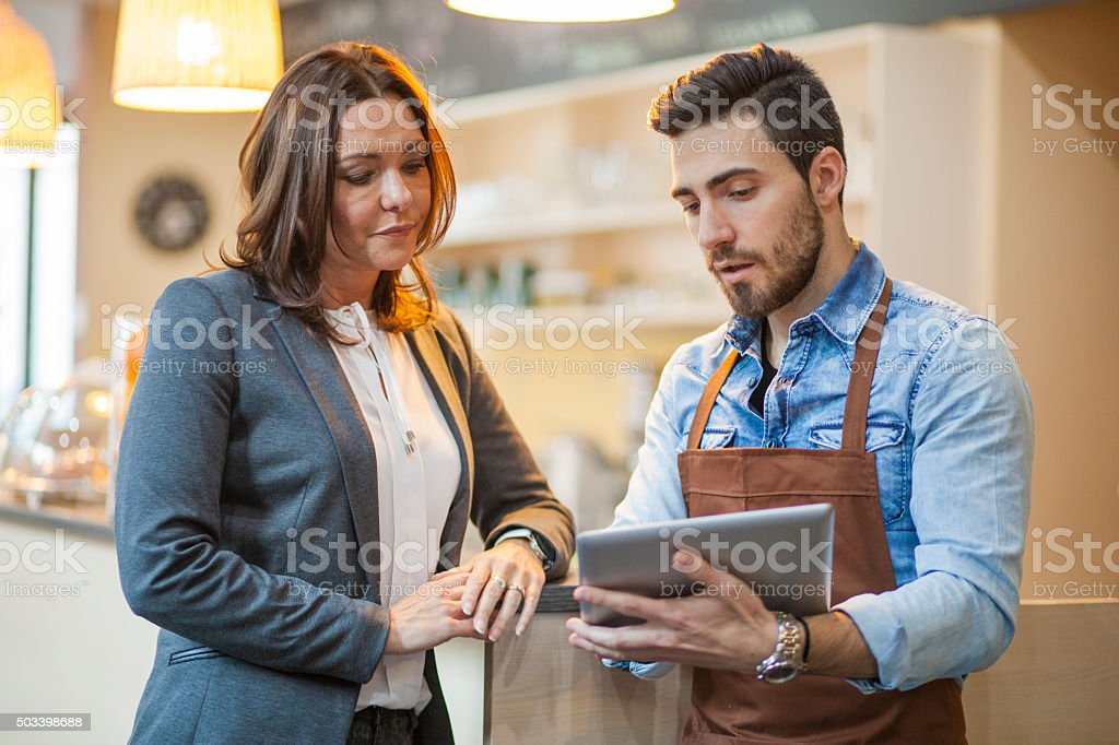 Business meeting in bar stock photo
