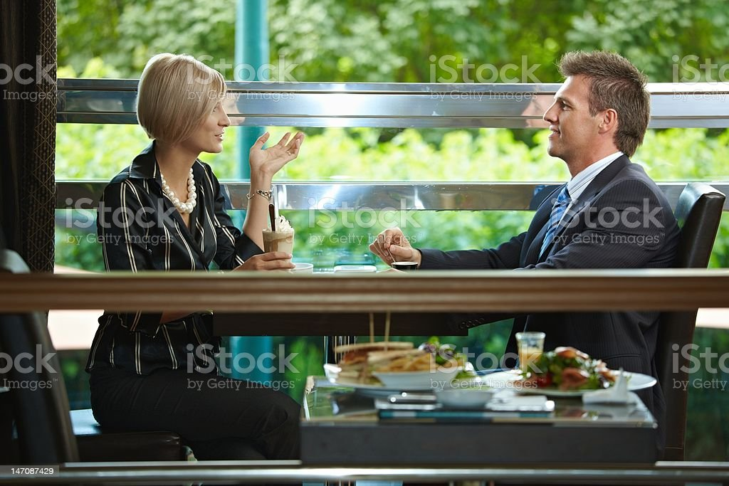 Business meeting in cafe royalty-free stock photo