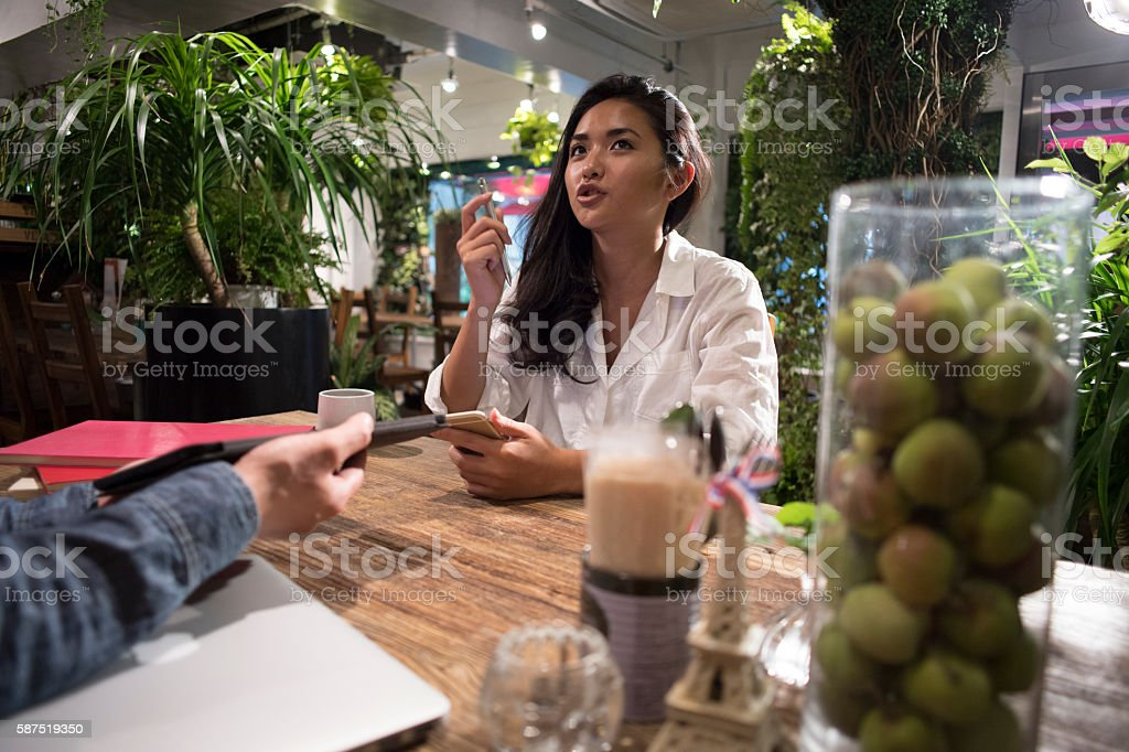 Business meeting in cafe. stock photo