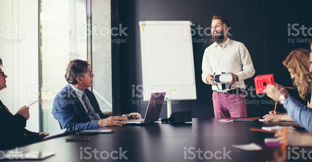 Business meeting in the board room stock photo