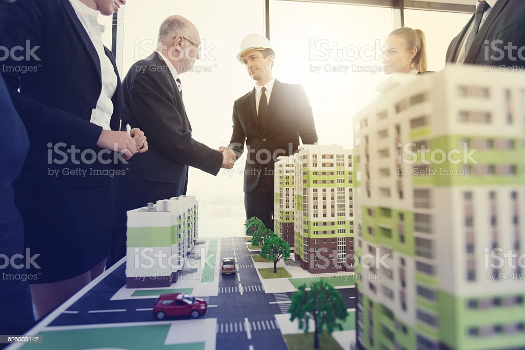 Business meeting of architects stock photo