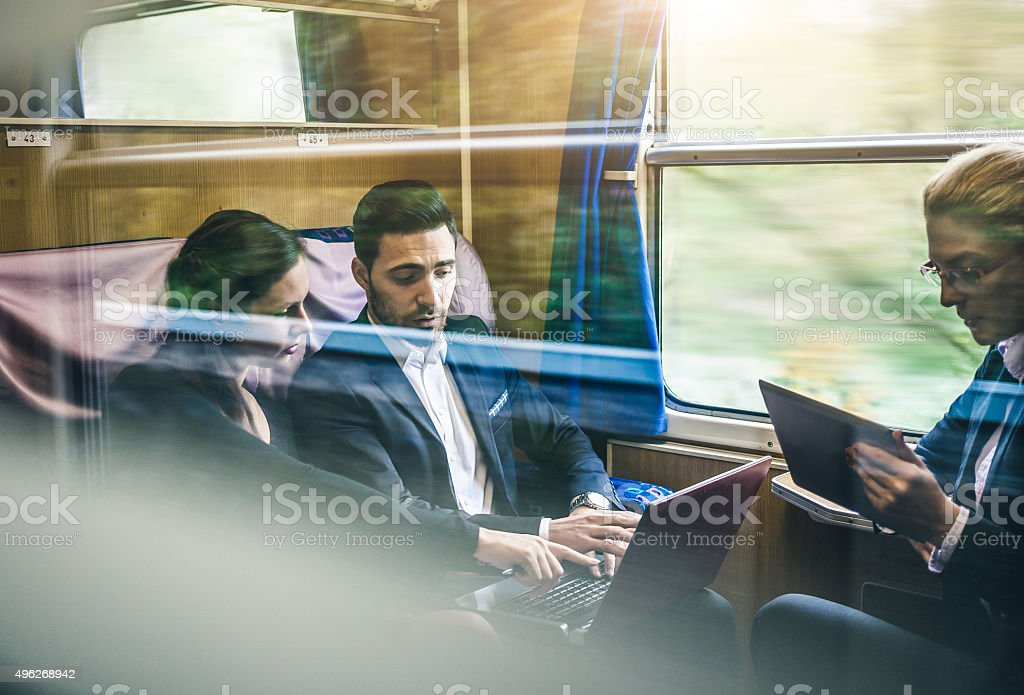 Business meeting on the train stock photo