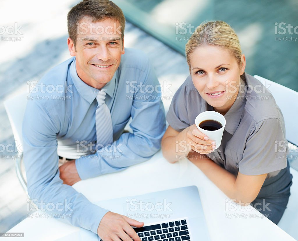 Business meeting over a cup of coffee royalty-free stock photo