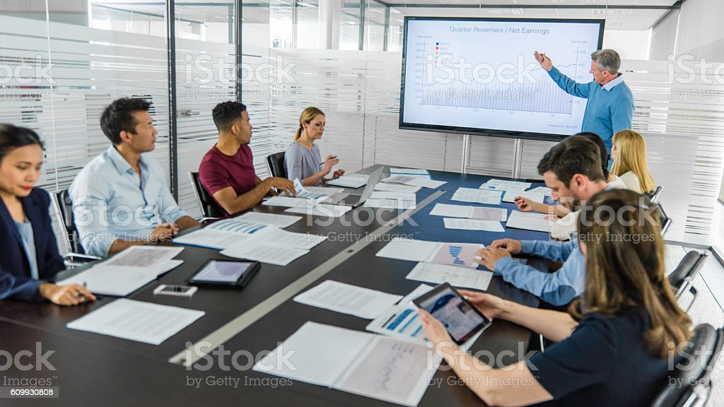 Business meeting with presentation stock photo