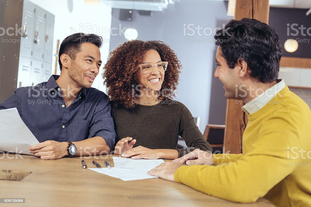 Business meeting with real estate agent stock photo
