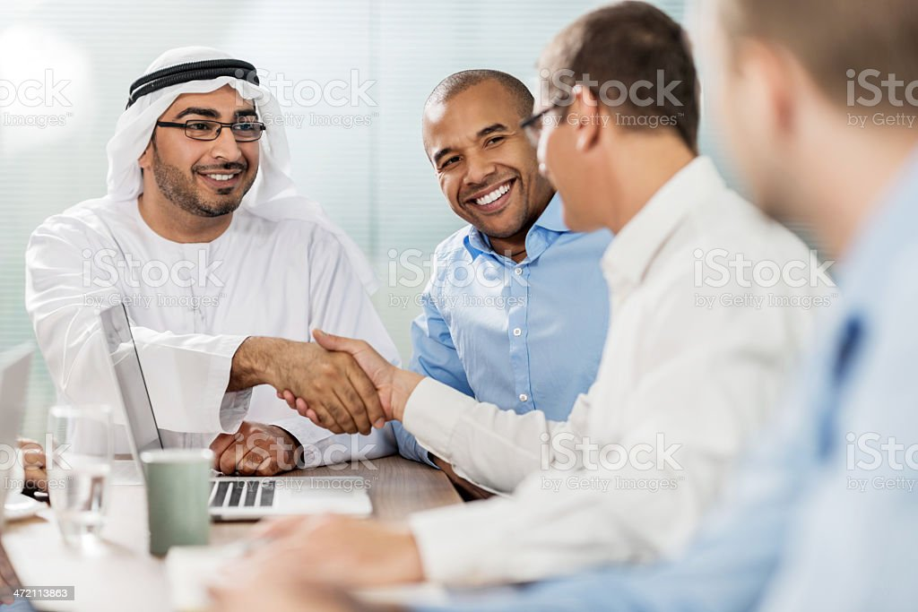 Business meeting with Sheik. stock photo